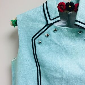 Jackie O vintage linen aqua mini dress / tunic